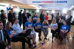 LONDON, ENGLAND - JUNE 24: Supporters of the Stronger In Campaign watch the results of the EU referendum being announced at the Royal Festival Hall on June 24, 2016 in London, United Kingdom. The United Kingdom has gone to the polls to decide whether or not the country wishes to remain within the European Union. After a hard fought campaign from both REMAIN and LEAVE the vote is too close to call. A result on the referendum is expected on Friday morning. (Photo by Rob Stothard/Getty Images)